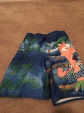 Phineas And Ferb Boys UnLined Swim Trunks Shorts Sz M 8 Multicolor Clothes