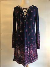 Juicy Contour Floral Dress Lace Up Front Size LG (item 40)