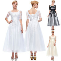 Vintage Lace Tulle Formal 50s Wedding Gown Half Sleeve PARTY Prom Evening Dress