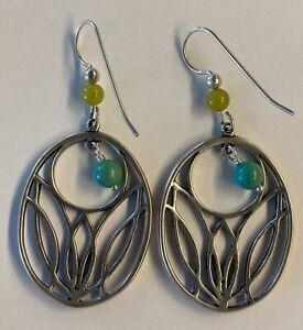 Beautiful Carolyn Pollack Relios Sterling Silver Gemstone Drop Dangle Earrings