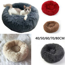 Comfy Calming Dog Cat Bed Pet Round Super Soft Plush Marshmallow Puppy Beds UK