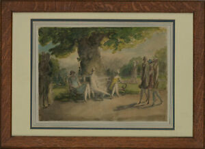 Harold Hope Read (1881-1959) - Framed Watercolour, Ladies on a Park Stroll