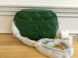 New Tory Burch  Fleming Soft Small Camera Bag  Arugula Green $398
