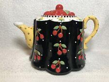 Mary Engelbreit 2001 Michel Polka Dots and Flower Blossom Tea Pot Very Cherry
