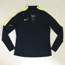 Nike Dry-fit Women's Soccer Blue/volt Invisible Thumb Loop Jersey Sz M