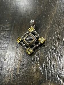 NEW! Silver Tone DY Renaissance Design Peridot Colored Crystal Fashion Pendant~