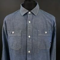 VANS Mens Casual Shirt LARGE Long Sleeve Blue Classic Fit No Pattern Cotton