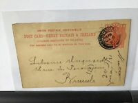 David Nutt Foreign Bookseller London to Brussels 1897  stamps card Ref R25783