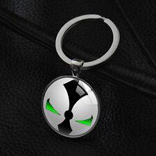 Spawn Logo Keychains Superhero Round Pendant Silver Glass Bag Charm Key Chain