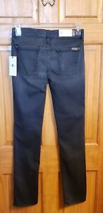 7 For All Mankind The Modern Straight Jeans In Blk Fade Sz 30 NWT