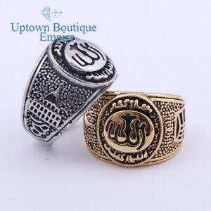 Muslim Allah Islamic Men's Stainless Steel Round Band Ring Size:8-13#AJI