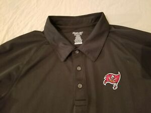 Mens Reebok Tampa Bay Buccaneers Polo Shirt M Medium Black Athletic Long Sleeve