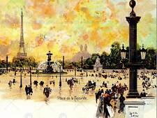 La PITTURA cartolina Place Concorde Parigi Torre Eiffel art print poster cc6657