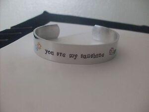 you are my sunshine Customizable Quote Silver Aluminum Cuff Bracelet handmade
