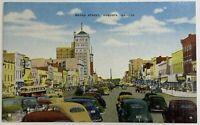 Old Vintage Linen Era Postcard Street Scene Broad Street, Augusta, Georgia