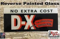 """DX BLACK GASOLINE AD GLASS 5"""" X 11.75"""" ERIE GAS PUMPS"""