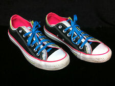 CONVERSE Men 6 Women 8 BLACK Neon Pink Double Tongue Low Top Canvas SNEAKER Shoe