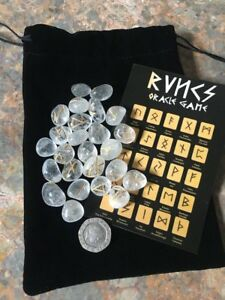 Rune Stones - Natural Clear Quartz Crystal Divination Runes Pouch Symbol Sheet