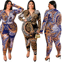 Womens Jumpsuit Casual V-neck Plus Size Rompers Bodycon Playsuit Long Sleeve Big