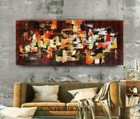 """Brown Gold Abstract Wall Art Modern Art 72"""" Original Paintings Canvas Office Art"""