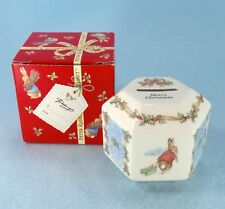 Wedgwood Peter Rabbit Merry Christmas Money Box Hex Coin Bank 1996 New in Box