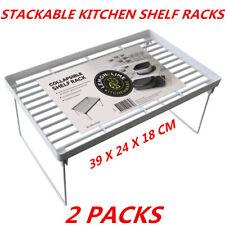 Kitchen Pantry Plastic Shelf Rack Food storage Organiser Bathroom Office 39x24cm