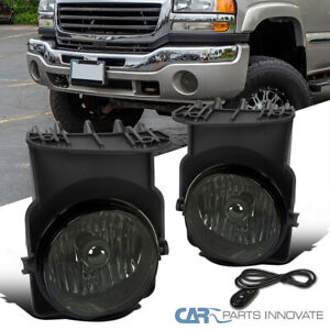 For 03-06 GMC Sierra 1500 2500HD 3500 Smoke Fog Lights Bumper Lamps+Switch+Bulbs