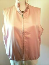 Ralph Lauren Womens Shiny Pink White Golf Athletic Full Zip Vest Sleeveless XL
