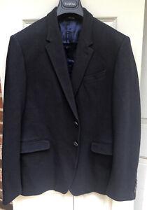 Men's Paul Stuart sportcoat, dark navy, cotton blend,Italy, 44R but slim cut