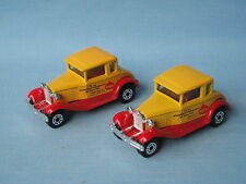 Matchbox Ford Model A Hot Rod PAVA Yellow Toy Model Car Pre-Pro Set of 2
