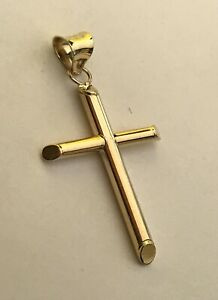 14k Yellow Solid Gold Traditional Cross Religious Pendant