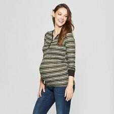 NWT Ma Cherie Maternity Striped Long Sleeve Button Placket Top Olive XL
