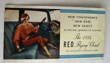 "Vintage 1934 ""REO Flying Cloud"" Motor Company Brochure w/ Colored Pictures *"