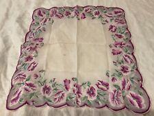 Vintage Hanky Handkerchief Hankie women's ladies purple pansies florals flowers