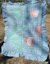 "Blue & pink floral quilted pillow sham  20x26"" Standard"
