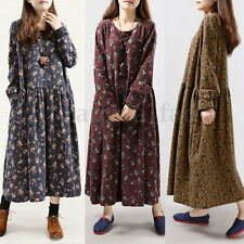UK8-24 ZANZEA Women Vintage Floral Long Sleeve Casual Loose Maxi Dress Plus Size