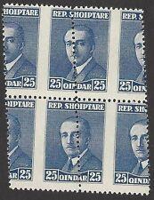 Albania #191 1925 25q Grossly Misperfed Mnh block of 4