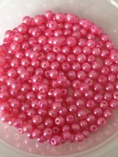 4mm Glass faux Pearls strand - Candy Pink (200+ beads) jewellery making, craft