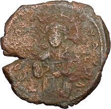 JESUS CHRIST Class C Anonymous Ancient 1034AD Byzantine Follis Coin  i39447