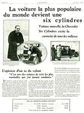 Publicité ancienne voiture chevrolet six voiture de luxe 1929  issue de magazine