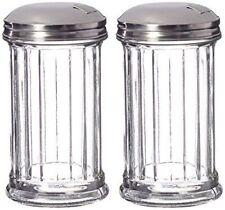 2Pc Sugar Dispenser Pourer Shaker Glass Jar Stainless Steel Pour-Flap Lid 12oz