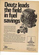 Original 1974 Deutz Tractor Magazine Ad - Leads the Field in Fuel Savings