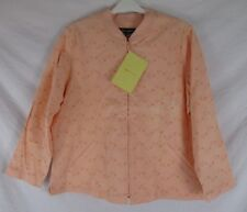 Denim & Co. Womens Embroidered Jacket Orange Floral Size 1X Zip CB92N New Defect