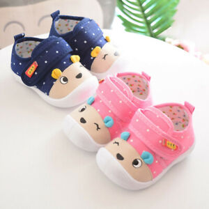 Kids Baby Boys Girls Squeaky Sneakers Infant Cartoon Anti-slip Soft Sole Shoes