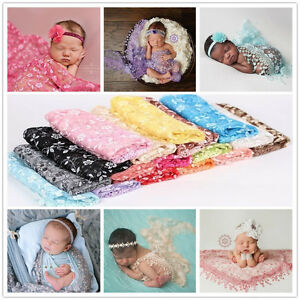 Newborn Baby Lace Fringe Triangle Wrap Cover Layering Blanket Photo Prop