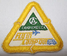 Vintage Camp America Fly In Camp Out Embroidered Patch Airplane Motorhome Camper