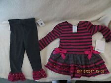 Bonnie Jean Girl Pink & Grey Stripes w/Sequins Outfit Size 24M -BRAND NEW W/TAGS