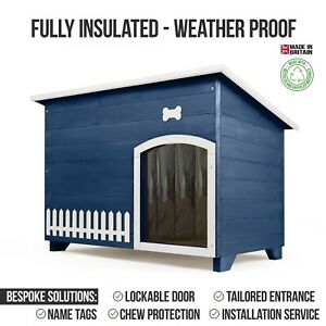 Outdoor Dog Kennel / House Winter Weather Proof Insulated - XL Iris Blue 001
