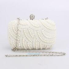Handmade Beaded Pearl Evening Bag Clutch Crystal Purse Party Wedding Handbag