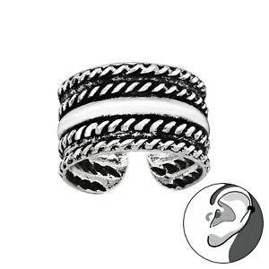 925 Sterling Silver Vintage Rope Line Ear Cuff Non Piercing 10mm Unisex Earring